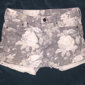 Grey and White Floral Shorts